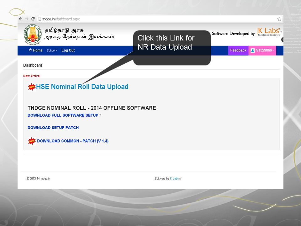 Click this Link for NR Data Upload