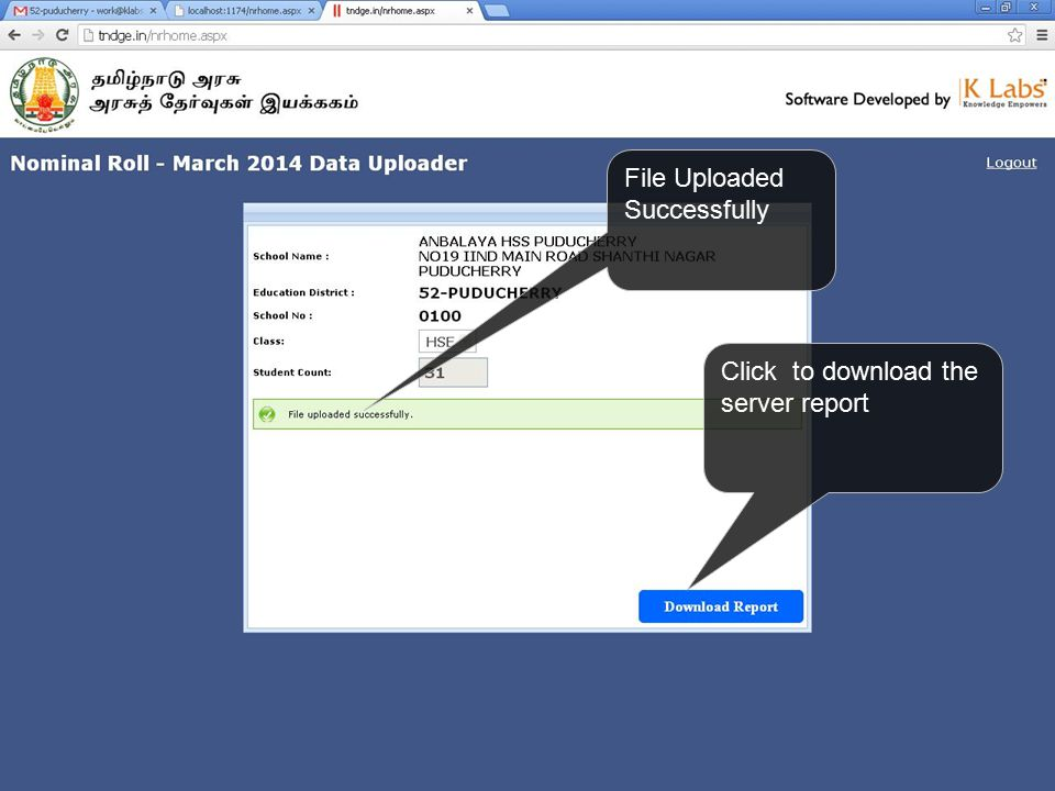 File Uploaded Successfully Click to download the server report