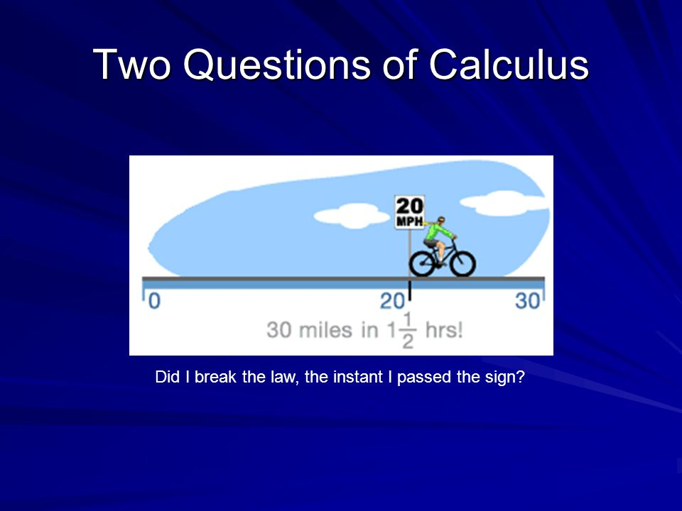 First Question of Calculus How do you find instantaneous rates of change (velocities)?