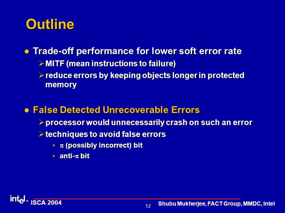 ® 12 ISCA 2004 Shubu Mukherjee, FACT Group, MMDC, Intel Outline Trade-off performance for lower soft error rate Trade-off performance for lower soft e