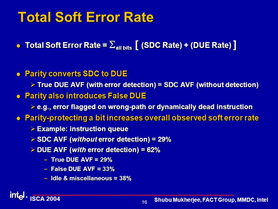 ® 16 ISCA 2004 Shubu Mukherjee, FACT Group, MMDC, Intel Total Soft Error Rate Total Soft Error Rate =  all bits [ (SDC Rate) + (DUE Rate) ] Total Soft Error Rate =  all bits [ (SDC Rate) + (DUE Rate) ] Parity converts SDC to DUE Parity converts SDC to DUE ØTrue DUE AVF (with error detection) = SDC AVF (without detection) Parity also introduces False DUE Parity also introduces False DUE Øe.g., error flagged on wrong-path or dynamically dead instruction Parity-protecting a bit increases overall observed soft error rate Parity-protecting a bit increases overall observed soft error rate ØExample: instruction queue ØSDC AVF (without error detection) = 29% ØDUE AVF (with error detection) = 62% –True DUE AVF = 29% –False DUE AVF = 33% –Idle & miscellaneous = 38%