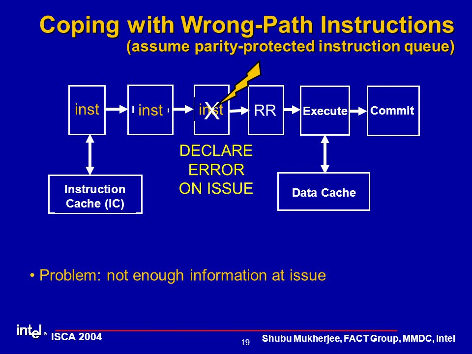 ® 19 ISCA 2004 Shubu Mukherjee, FACT Group, MMDC, Intel Coping with Wrong-Path Instructions (assume parity-protected instruction queue) DECLARE ERROR ON ISSUE Problem: not enough information at issue IQ Fetch Decode Execute Commit Instruction Cache (IC) Data Cache RR inst X