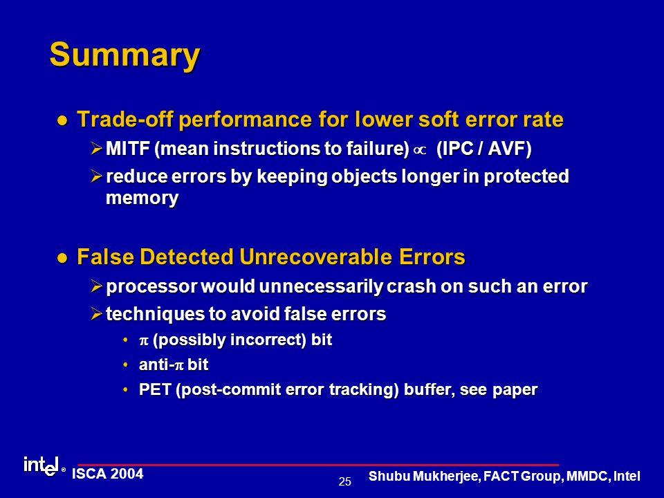 ® 25 ISCA 2004 Shubu Mukherjee, FACT Group, MMDC, Intel Summary Trade-off performance for lower soft error rate Trade-off performance for lower soft e