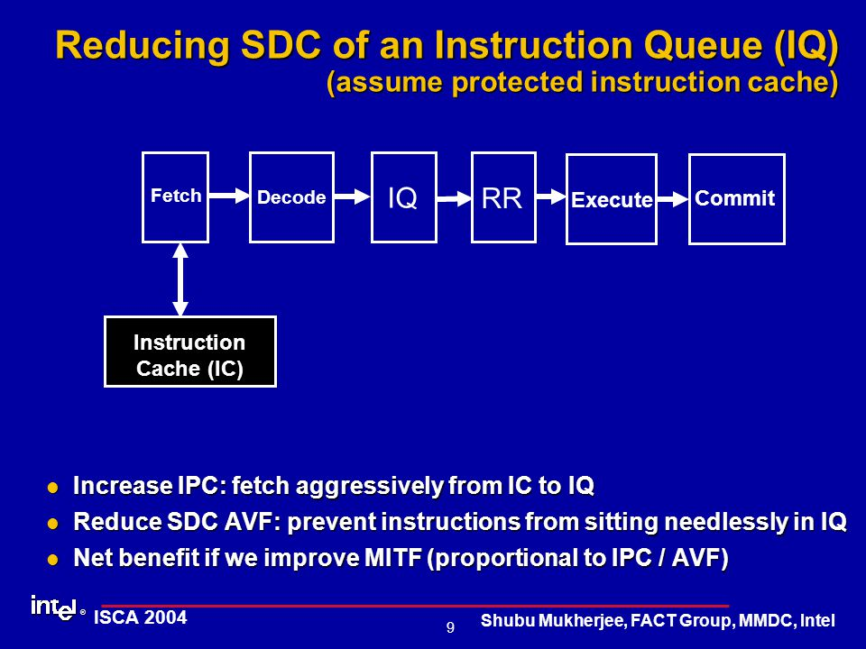 ® 9 ISCA 2004 Shubu Mukherjee, FACT Group, MMDC, Intel Reducing SDC of an Instruction Queue (IQ) (assume protected instruction cache) Increase IPC: fetch aggressively from IC to IQ Increase IPC: fetch aggressively from IC to IQ Reduce SDC AVF: prevent instructions from sitting needlessly in IQ Reduce SDC AVF: prevent instructions from sitting needlessly in IQ Net benefit if we improve MITF (proportional to IPC / AVF) Net benefit if we improve MITF (proportional to IPC / AVF) IQ Fetch Decode Execute Commit Instruction Cache (IC) RR