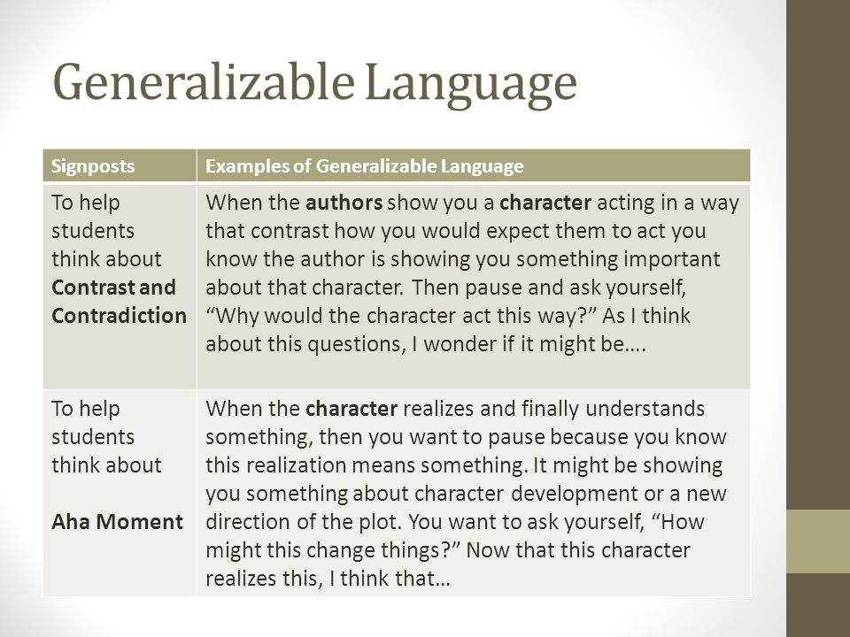 Generalizable Language SignpostsExamples of Generalizable Language To help students think about Contrast and Contradiction When the authors show you a