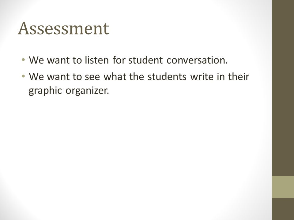 Assessment We want to listen for student conversation. We want to see what the students write in their graphic organizer.