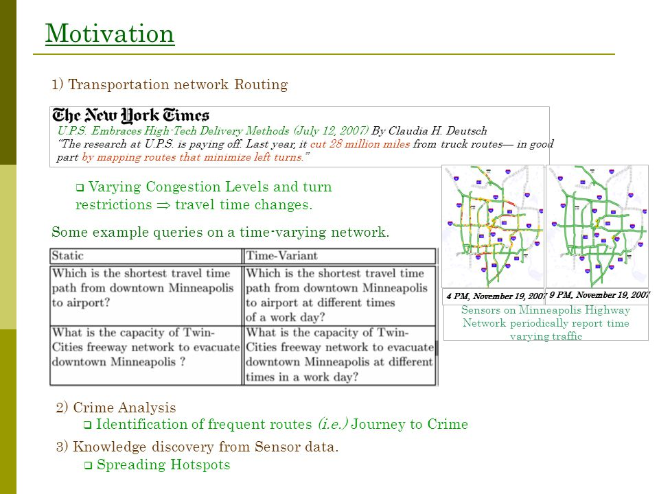 Motivation  Varying Congestion Levels and turn restrictions  travel time changes. 1) Transportation network Routing  Identification of frequent rou