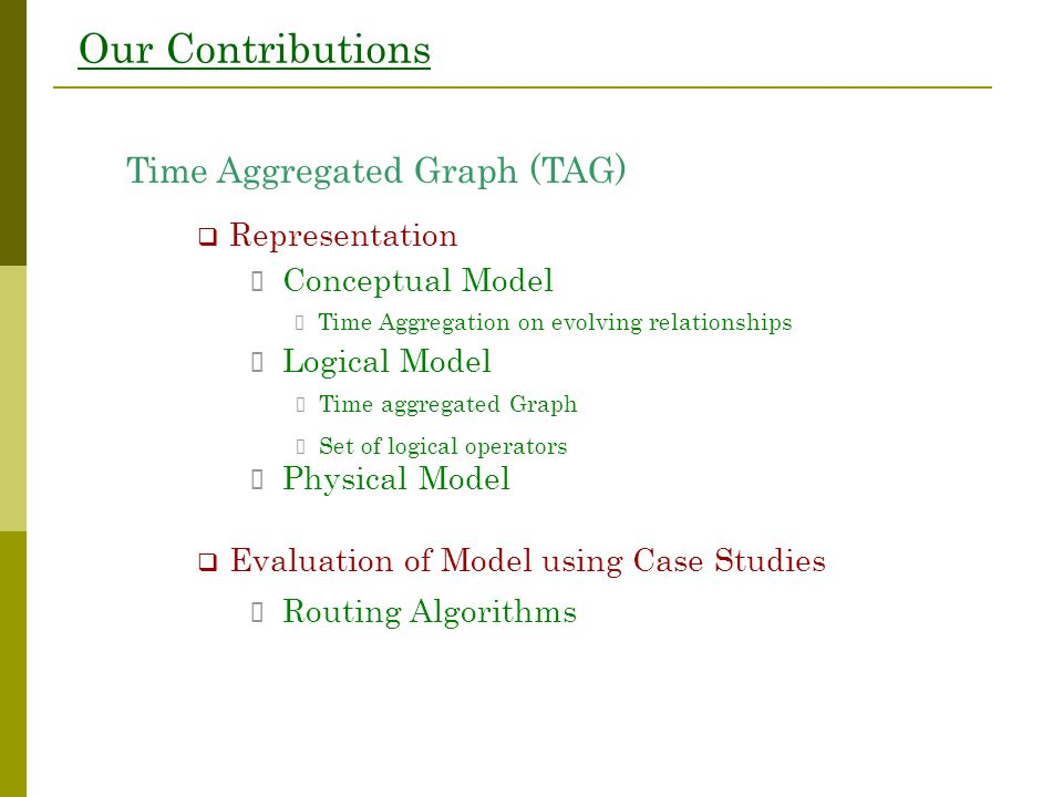 Our Contributions Time Aggregated Graph (TAG)  Representation  Evaluation of Model using Case Studies Routing Algorithms Conceptual Model Logical Mo