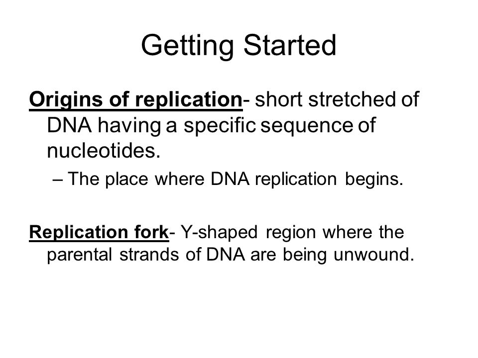 Getting Started Origins of replication- short stretched of DNA having a specific sequence of nucleotides. –The place where DNA replication begins. Rep