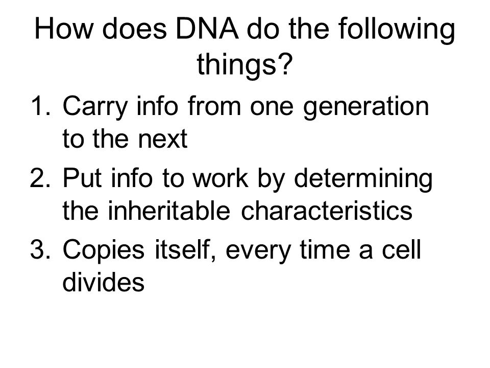 How does DNA do the following things? 1.Carry info from one generation to the next 2.Put info to work by determining the inheritable characteristics 3