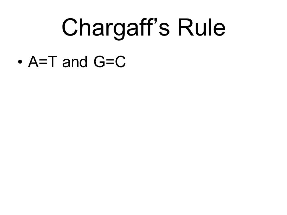 Chargaff's Rule A=T and G=C