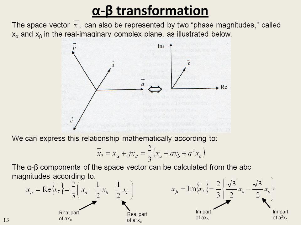 α-β transformation 13 The space vector can also be represented by two phase magnitudes, called x α and x β in the real-imaginary complex plane, as illustrated below.