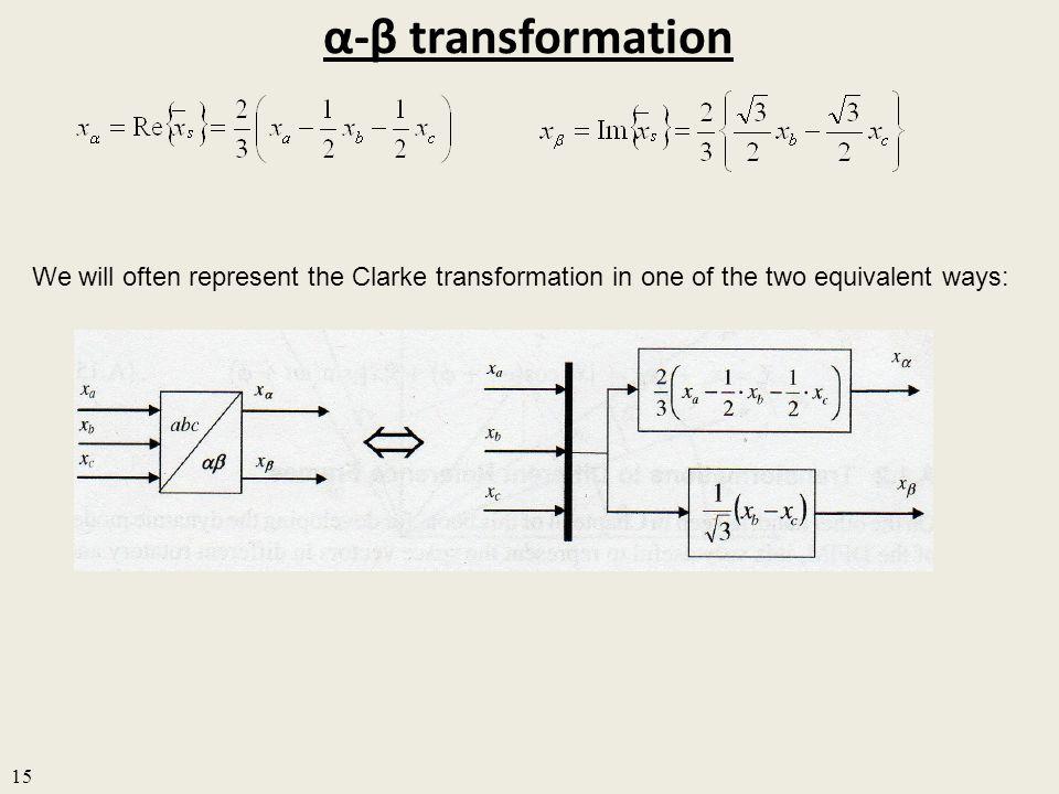 α-β transformation 15 We will often represent the Clarke transformation in one of the two equivalent ways: