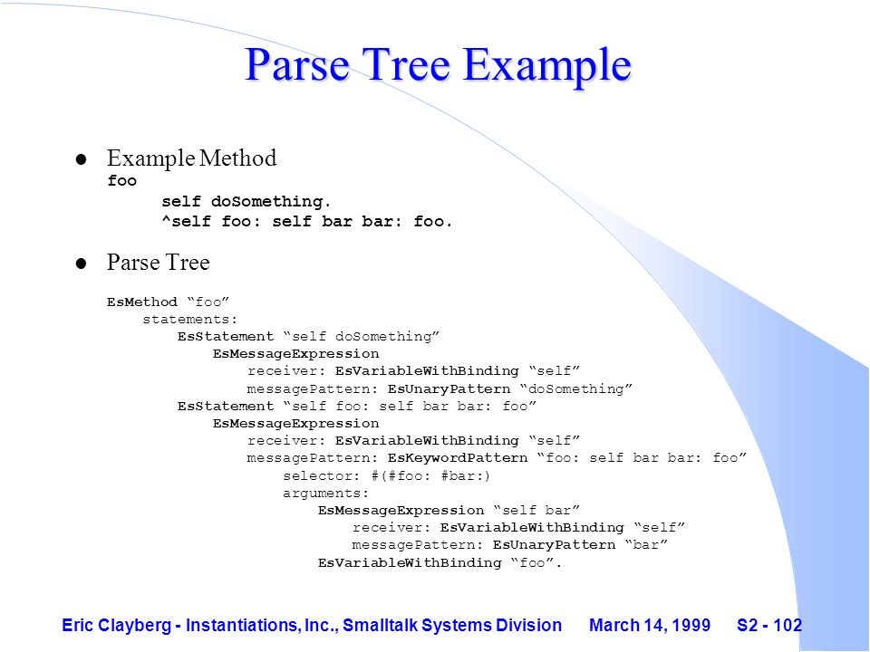 Eric Clayberg - Instantiations, Inc., Smalltalk Systems Division March 14, 1999 S2 - 102 Parse Tree Example Example Method foo self doSomething.