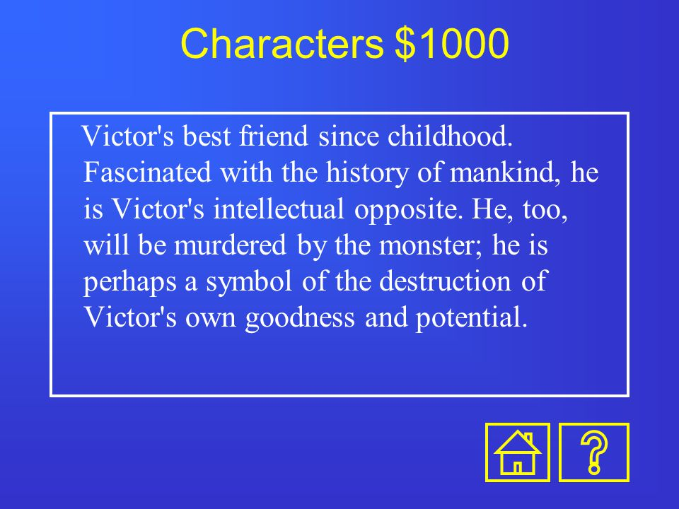 Characters $800 Though a servant in the Frankenstein household, she is more like a sister to Victor and Elizabeth. She is executed for William's murde