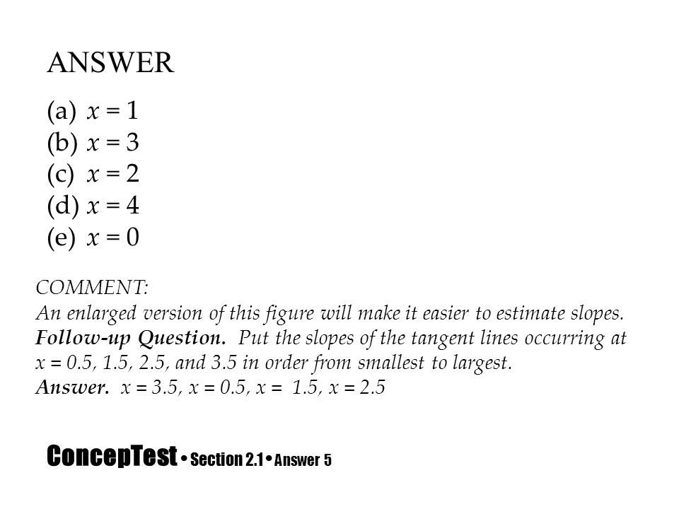 ConcepTest Section 2.1 Answer 5 ANSWER (a) x = 1 (b) x = 3 (c) x = 2 (d) x = 4 (e) x = 0 COMMENT: An enlarged version of this figure will make it easi