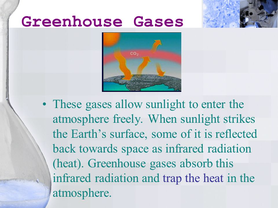 Greenhouse Gases These gases allow sunlight to enter the atmosphere freely.