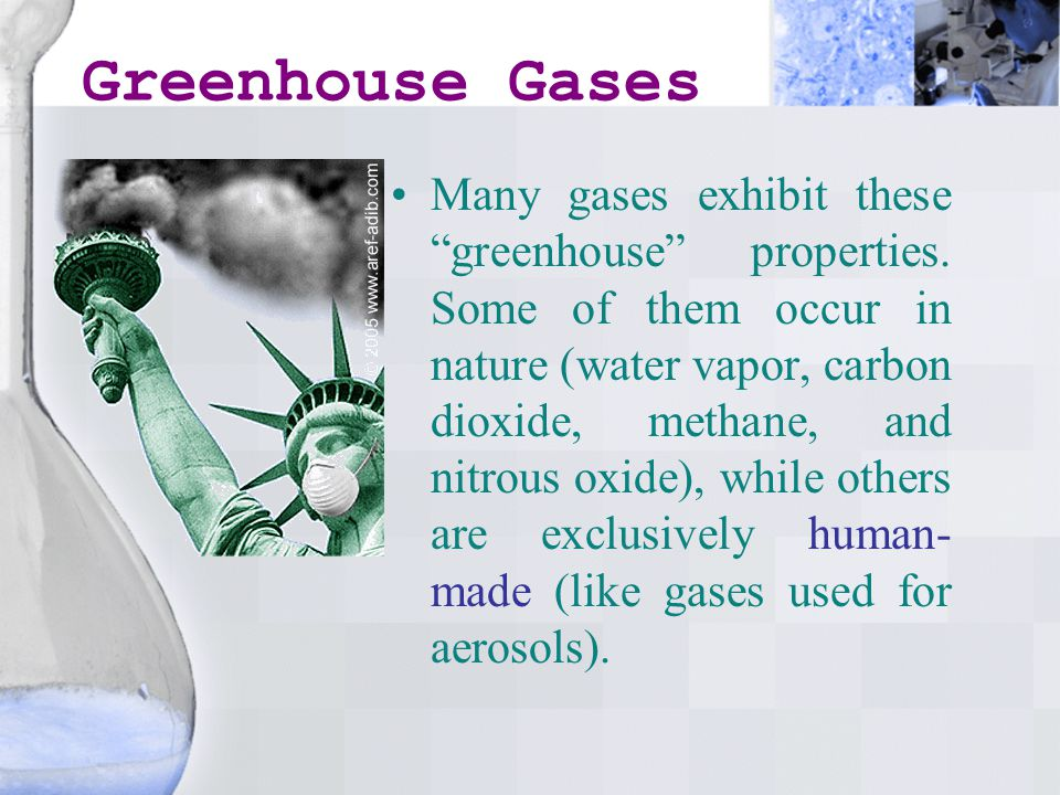 Greenhouse Gases Many gases exhibit these greenhouse properties.