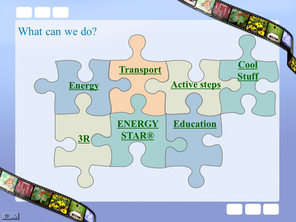 What can we do? Transport ENERGY STAR® Active steps Education Cool Stuff Energy 3R