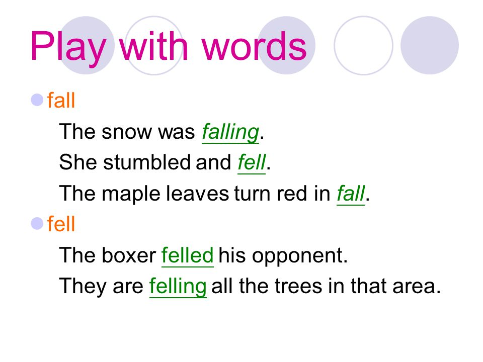Play with words fall The snow was falling. She stumbled and fell.