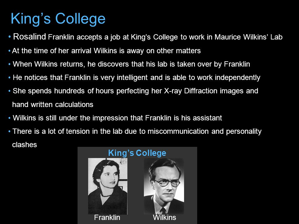 VS James Watson Francis Crick Cambridge University Rosalind Franklin Maurice Wilkins King's College Caltech University Linus Pauling
