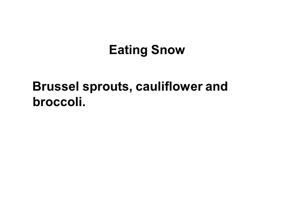 Eating Snow Brussel sprouts, cauliflower and broccoli.