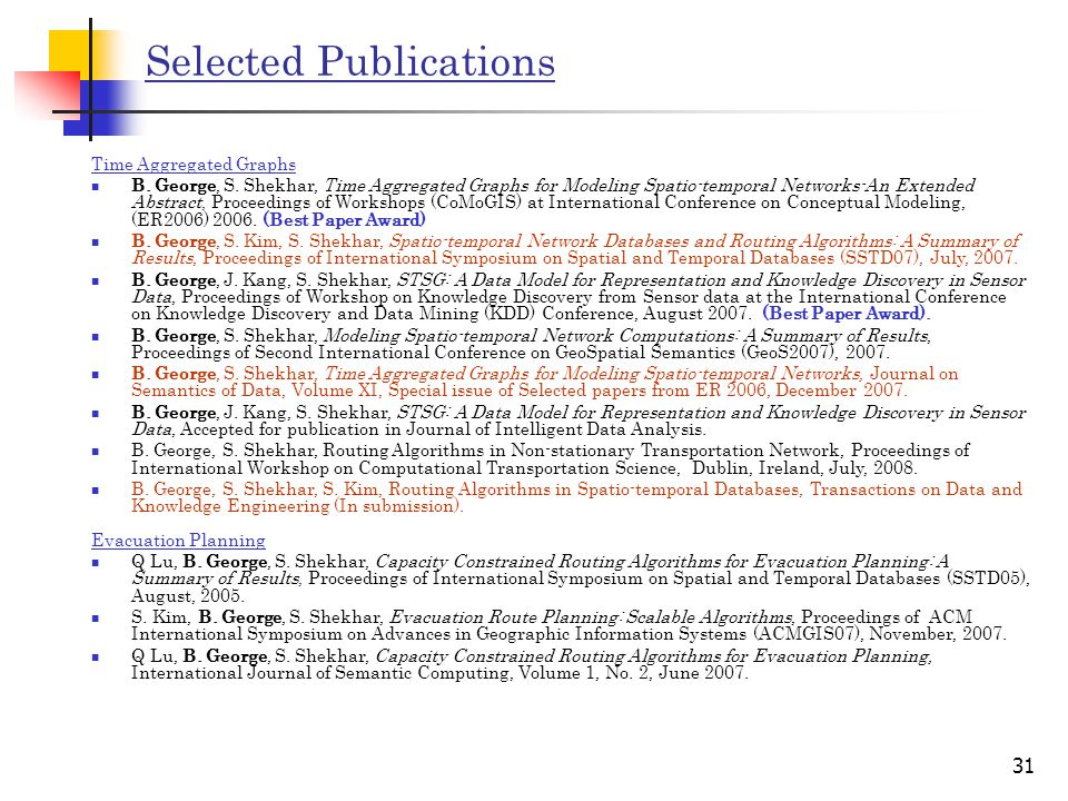 31 Selected Publications Time Aggregated Graphs B.