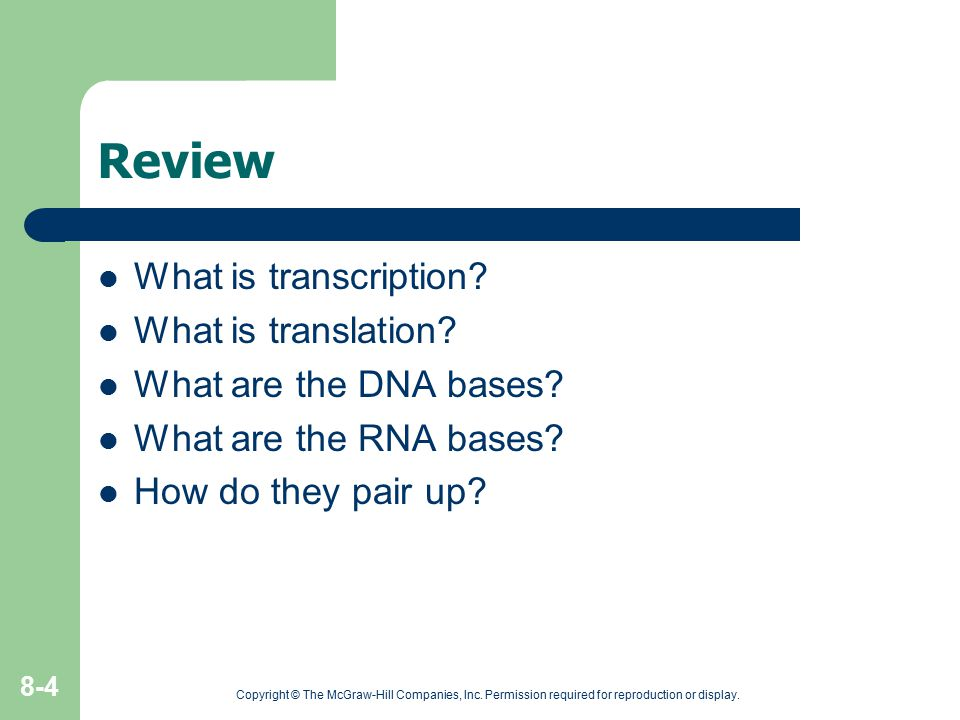 Review What is transcription? What is translation? What are the DNA bases? What are the RNA bases? How do they pair up? Copyright © The McGraw-Hill Co