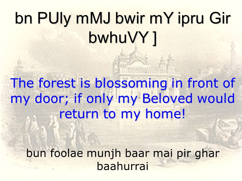 bun foolae munjh baar mai pir ghar baahurrai bn PUly mMJ bwir mY ipru Gir bwhuVY ] The forest is blossoming in front of my door; if only my Beloved would return to my home!