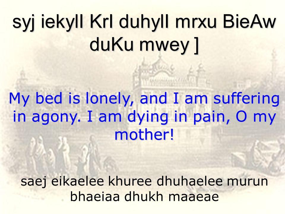saej eikaelee khuree dhuhaelee murun bhaeiaa dhukh maaeae syj iekylI KrI duhylI mrxu BieAw duKu mwey ] My bed is lonely, and I am suffering in agony.
