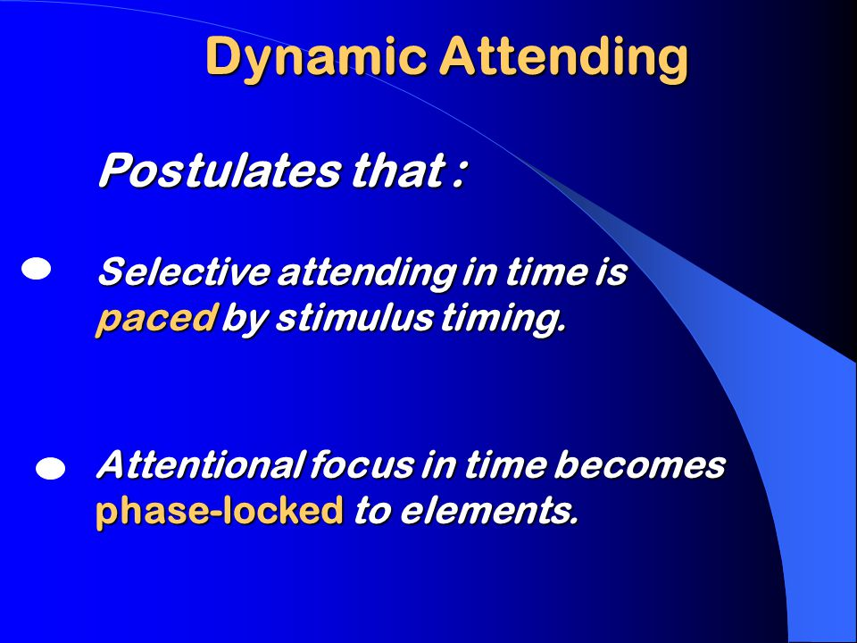 Where elements appear… then disappear Attending to Dynamic Patterns Time Attention must occur in synchrony with elements.