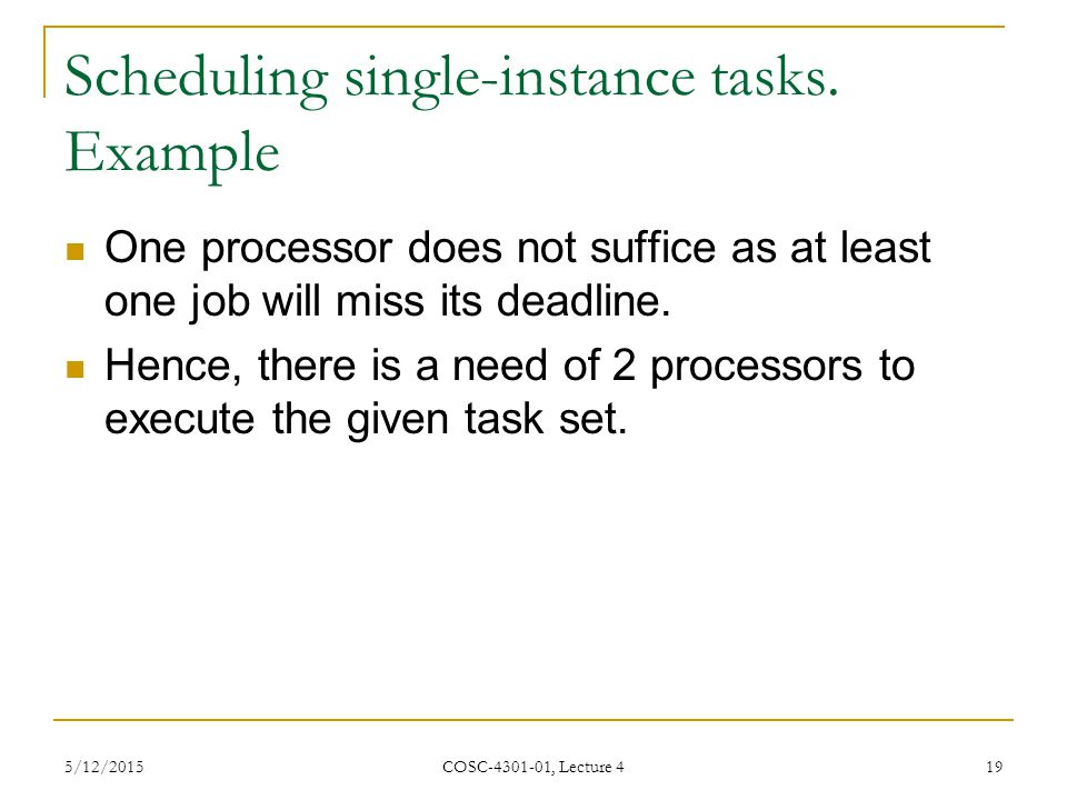 Scheduling single-instance tasks.