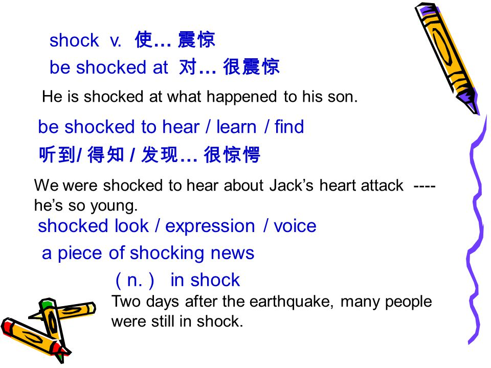 shock v. 使 … 震惊 be shocked at 对 … 很震惊 He is shocked at what happened to his son.