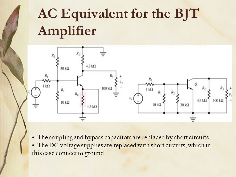 AC Equivalent for the BJT Amplifier The coupling and bypass capacitors are replaced by short circuits. The DC voltage supplies are replaced with short