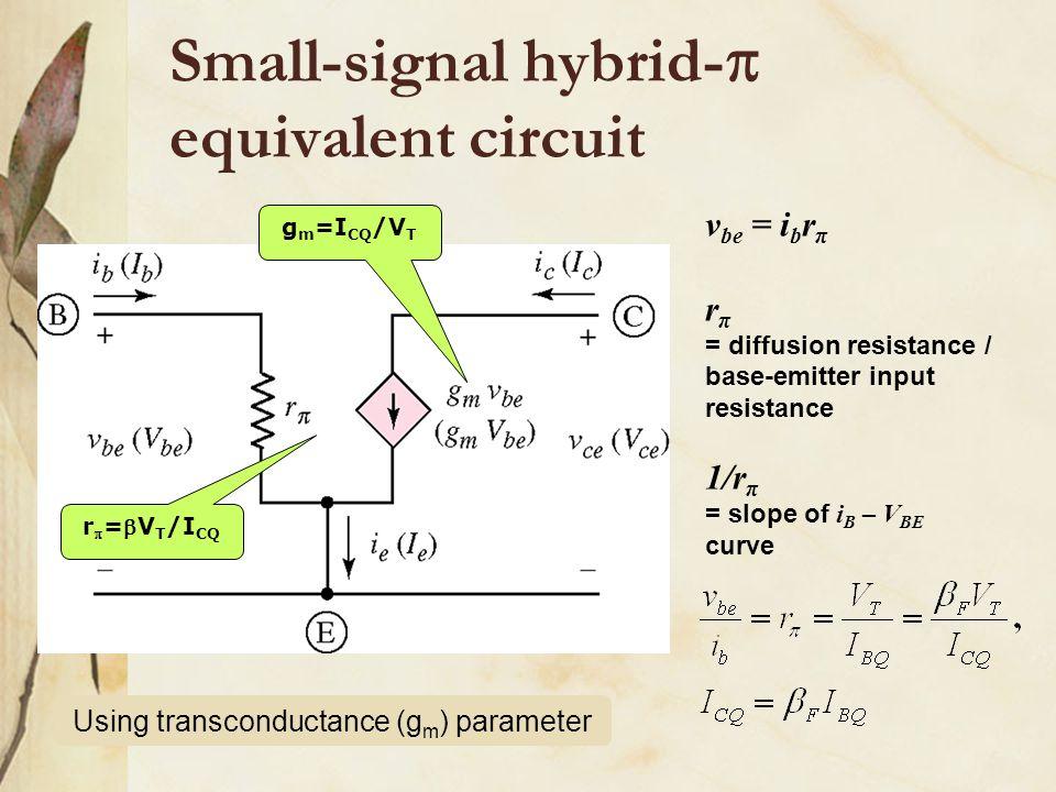 Small-signal hybrid-  equivalent circuit Using transconductance (g m ) parameter g m =I CQ /V T r  =V T /I CQ v be = i b r π r π = diffusion resist