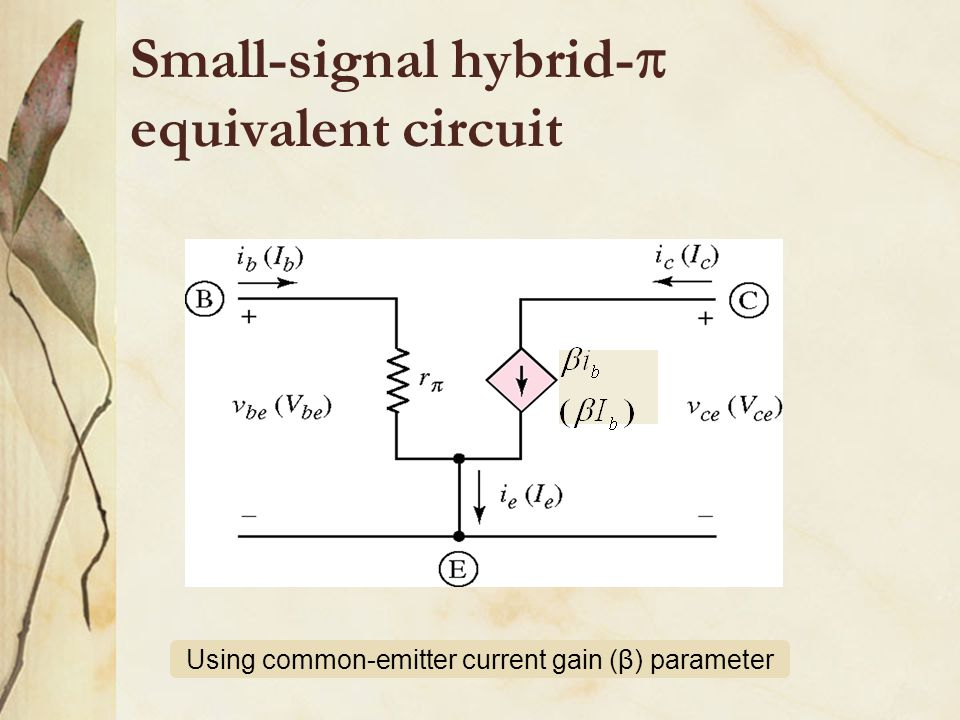 Using common-emitter current gain (β) parameter Small-signal hybrid-  equivalent circuit