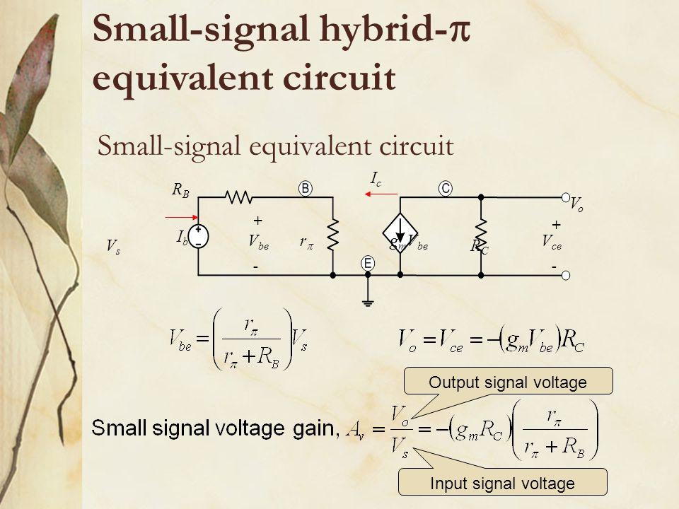 Small-signal equivalent circuit rr VsVs RBRB RCRC VoVo IcIc IbIb g m V be V be V ce + + -- Small-signal hybrid-  equivalent circuit Output signal v