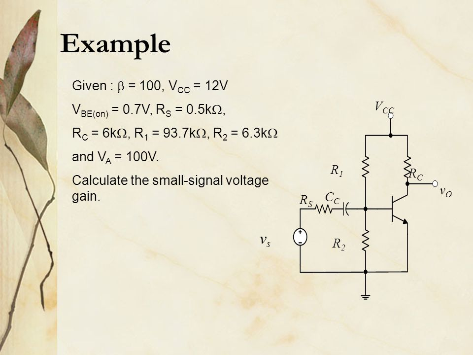 Example vsvs RSRS R1R1 R2R2 RCRC C vOvO V CC Given :  = 100, V CC = 12V V BE(on) = 0.7V, R S = 0.5k , R C = 6k , R 1 = 93.7k , R 2 = 6.3k  and V