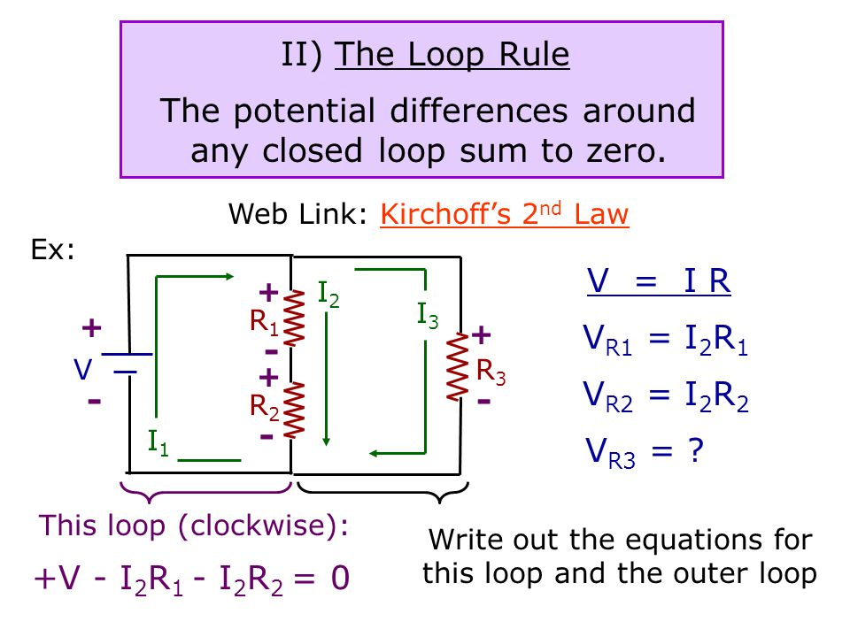 Kirchoff's Rules I) The Junction Rule The sum of the currents entering any junction is equal to the sum of the currents leaving that junction.