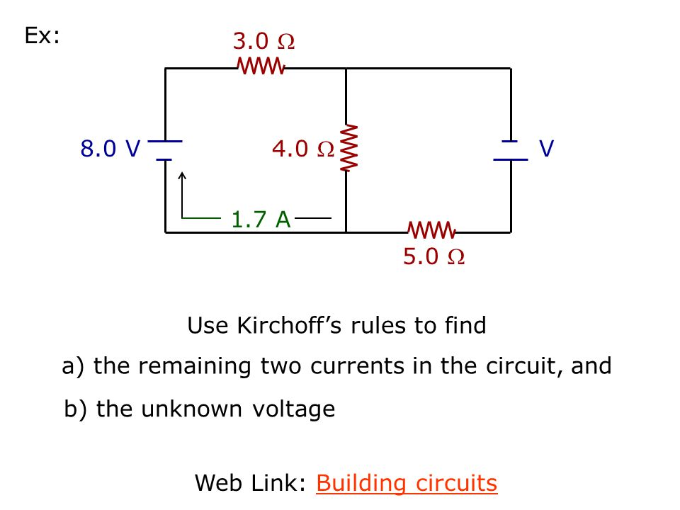 Here are the steps for applying Kirchoff's Rules to solve for unknown currents and voltages in a circuit: Step 1) Label all the different currents in the circuit I 1, I 2, I 3, etc.