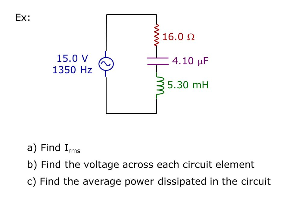 Series RCL Circuits Acts like a resistor: R = Phase Angle between I & V =  = cos  = power factor Impedance () Average Power ( P ) = I rms V rms cos 