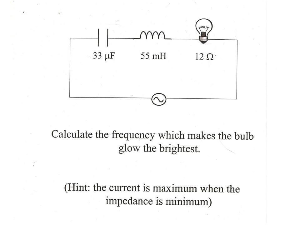 Ex: 16.0  4.10 F 5.30 mH a) Find I rms b) Find the voltage across each circuit element c) Find the average power dissipated in the circuit 15.0 V 1350 Hz