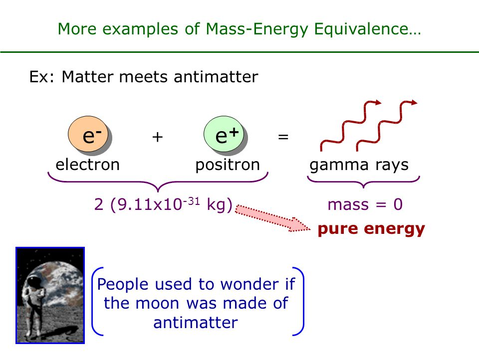 E 0 = mc 2 If energy changes Mass must change also When a 1 kg ball falls 200 m and lands on the ground, by how much does its mass change.