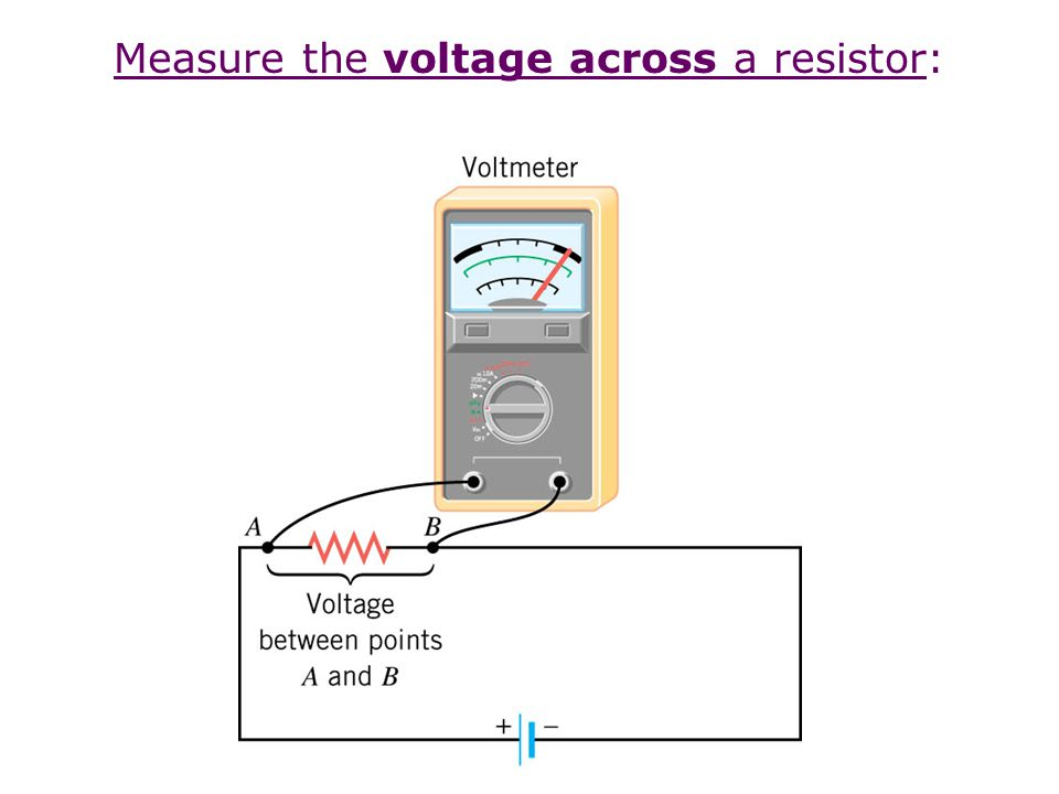 R1R1 V R2R2 In a series circuit, the current is the same through each resistor R1R1 V R2R2 In a parallel circuit, the voltage is the same across each resistor Notice that the terminology will help us remember how to measure current and voltage
