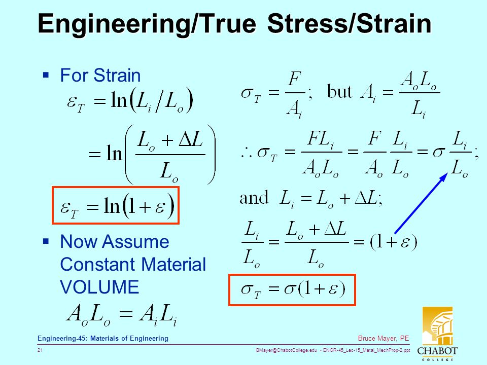 BMayer@ChabotCollege.edu ENGR-45_Lec-15_Metal_MechProp-2.ppt 21 Bruce Mayer, PE Engineering-45: Materials of Engineering Engineering/True Stress/Strain Engineering/True Stress/Strain  For Strain  Now Assume Constant Material VOLUME