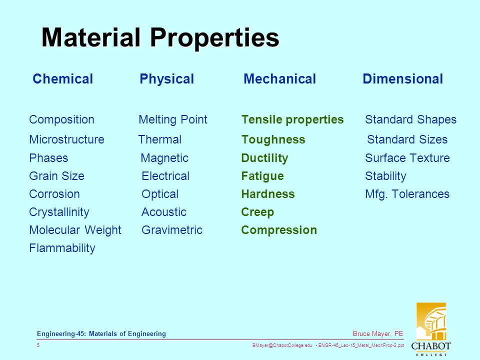 BMayer@ChabotCollege.edu ENGR-45_Lec-15_Metal_MechProp-2.ppt 5 Bruce Mayer, PE Engineering-45: Materials of Engineering Material Properties Chemical P