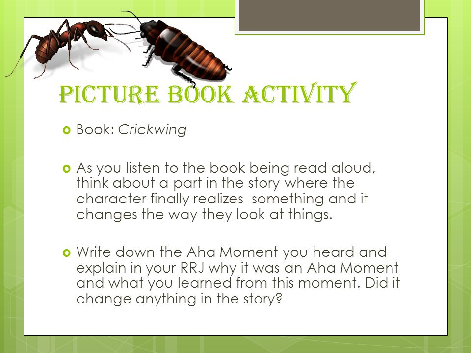 Picture Book Activity  Book: Crickwing  As you listen to the book being read aloud, think about a part in the story where the character finally realizes something and it changes the way they look at things.