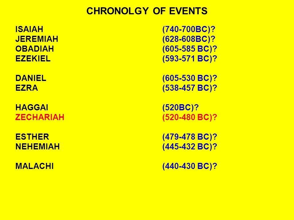 CHRONOLOGY OF BOOKS - PROPHETS - KINGS OBADIAH(605-585 BC)?NEBUCHADNEZZAR EZEKIEL(593-573 BC)?NEBUCHADNEZZAR DANIEL(605-530 BC)?CYRUS - DARIUS EZRA(538-457 BC).
