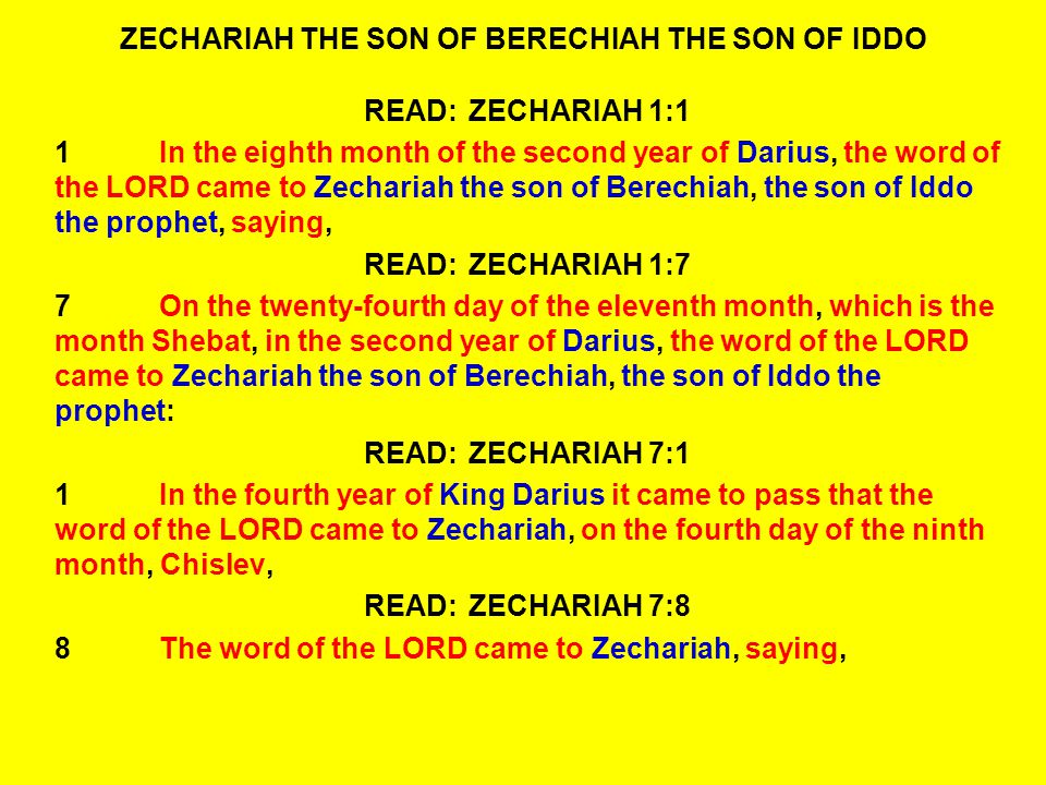 READ:ZECHARIAH 13:18-21 20Then the LORD showed me four craftsmen.