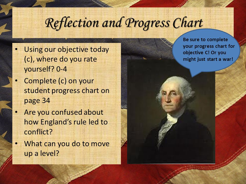 Reflection and Progress Chart Using our objective today (c), where do you rate yourself? 0-4 Complete (c) on your student progress chart on page 34 Ar